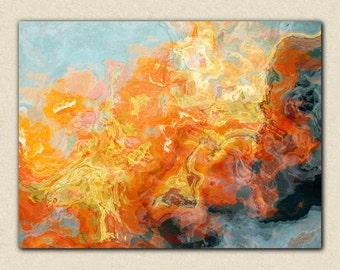"Abstract expressionism canvas print, 24x32 to 40x54 gallery wrap giclee, from abstract painting ""Electric"""