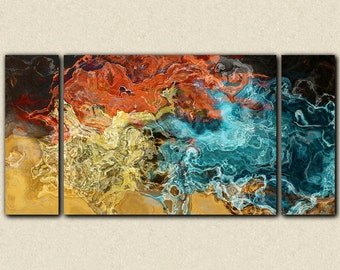"Abstract wall art stretched canvas print, 30x60 to 40x78 in earth tones, from abstract painting ""Extravaganza"""