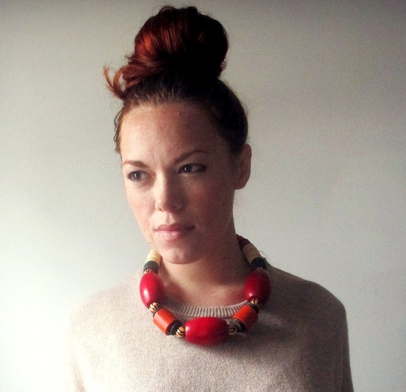 Chunky Statement Necklace. Vintage Wood Beads. Bright Red
