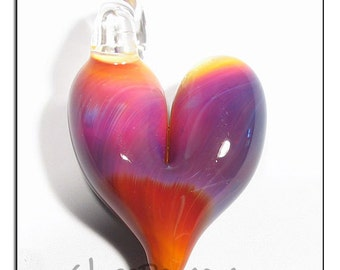 Glass Heart Pendant lampwork focal bead - Glass Peace glass jewelry (5521)