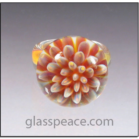 Glass Ring Purple and Pink Anemone Lampwork Boro Ring Size 6 1/2 - Glass Peace Blown Glass Jewelry (4067)