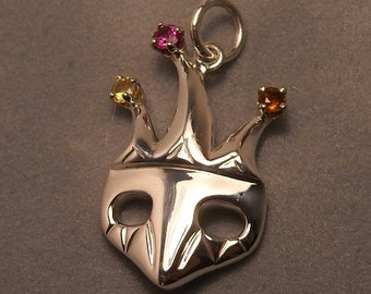 Jester mask or mardi gras mask pendant - Sterling silver with gems