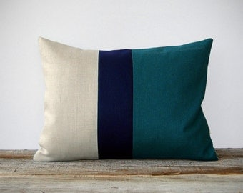 Color Block Stripe Decorative Pillow in Teal, Navy and Natural Linen by JillianReneDecor (12x16) Home Decor Colorblock Trio - Nautical