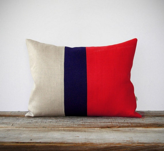 Color Block Stripe Pillow in Tangerine Tango, Navy and Natural Linen by JillianReneDecor (12x16) Modern Home Decor - Poppy Red