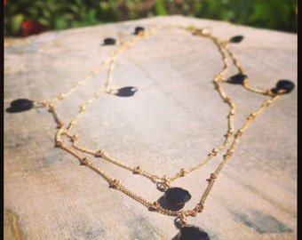 Long Gold Black Onyx Necklace