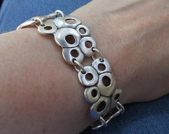 Silver Bracelet,  Boho chic bracelet, gift for mom, bubble bracelet, funky bracelet, metal jewelry, silver jewelry