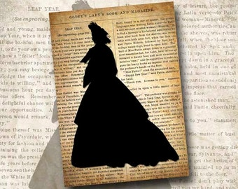 Digital Download Victorian Silhouette Godey's Lady's Book 1864 Printable Instant Download The Dinorah SIL103