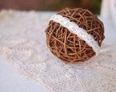 Creamy White SOFT White Scalloped Newborn Tie-Back Headband