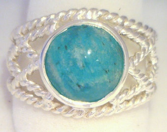 Amazonite Natural Gemstone Handmade Geometric Filigree 925 Silver Ring size 8.25