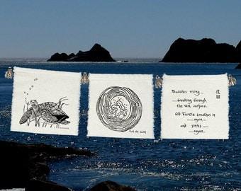 Sea Turtle prayers-3 group prayer flags-Green Sea Turtle-Ocean prayers-Buddhist story-Save the Sea Turtles-Jacques Cousteau-Sea Wedding