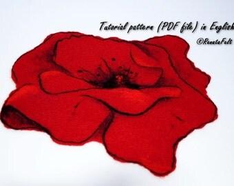Tutorial pattern (PDF) in ENGLISH --- Felted tea coaster with wool paint. Stilyze Poppy
