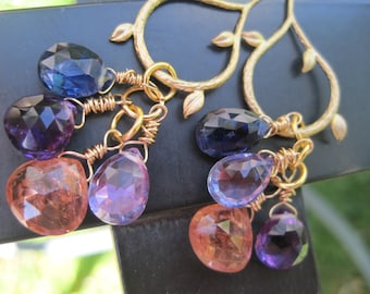 Amethyst, Kyanite, gold and Topaz Gemstone Earrings -Afternoon Delight -