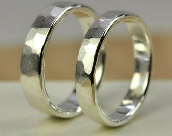 Pure Silver Eco Friendly Wedding Set, Hand Forged Rings from Recycled Silver, Sea Babe Jewelry