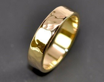 18K Yellow Gold Men's Wedding Band, Hammered 5mm Ring, Sea Babe Jewelry