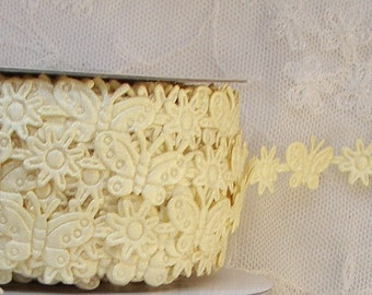 3yds Buttercup Yellow Butterfly Flower Fabric Trim on a Vine Scrapbooking Card Making Baby Bridal