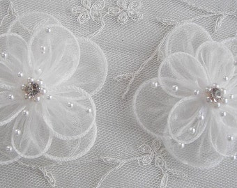2 pc IVORY Organza flower applique w pearl bead crystal rhinestone for Hat Bridal Corsage Pin brooch barrette headband hair accessory