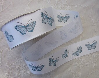 2 yds Teal Blue Butterfly White Ribbon Trim Sewing Scrapbooking Card Making Hair Bow