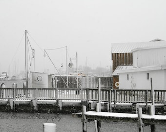 Nautical Photography - Fine Art Beach Photography - Nautical Decor - Silver, Gray, Sepia, White - Winter Snow Photo - Solomons Maryland