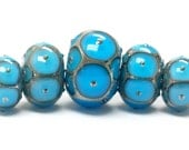 Glass Lampwork Beads  - Five Teal Blue w/Metal Dots Graduated Rondelle Beads  - 10409011