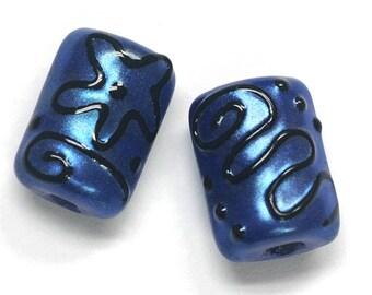 Glass Lampwork Bead Sets - Six Blue Pearl Surface w/Black Mini Kalera Beads 11204303