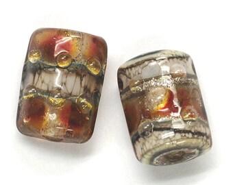 Glass Lampwork Bead Sets - Six Transparent Red w/Silver Foil Mini Kalera Beads 10703803