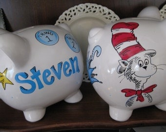 Personalized Piggy Bank cat in the hat
