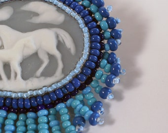 Blue Horse Cameo Brooch