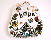 Pottery Home Plaque - HOUSE OF HOPE - Stamped Rustic Wall Hanging Sign - Inspirational, Flower Garden & Blue Bird of Happiness, Housewarming
