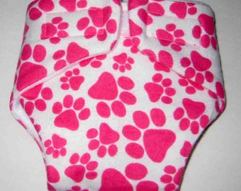 Baby Doll Diaper/Wipe(Cloth) -Pink Paws -Fits Bitty Baby, Baby Alive, Cabbage Patch, American Girl Dolls and More