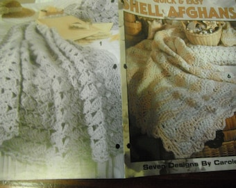 Afghan Crochet Pattern Leaflet Quick and Easy Shell Afghans Leisure Arts 2603 Carole Prior Crocheting Patterns