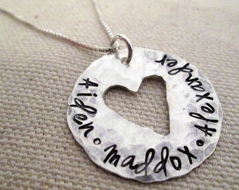 Personalized Jewelry - Whole Hearted- Mothers Necklace - hand stamped jewelry