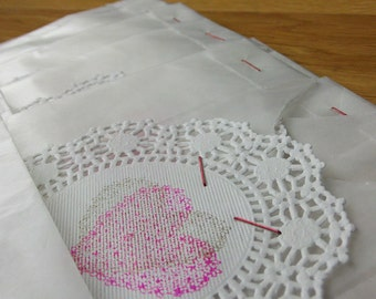 6 translucent round doily treat bags - stamped heart
