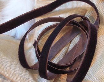 "Vintage Brown 3/8"" wide velvet ribbon 2 YARDS"