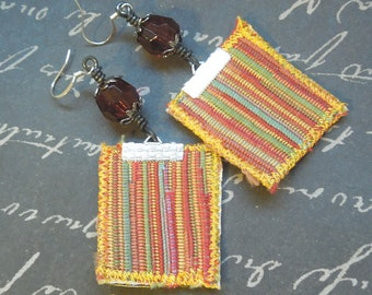 Yellow Tan Green Red Bohemian Repurposed Fabric Textile, Faceted Red Bead Earrings