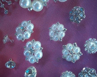 Large Buttons Broaches Pearl Rhinestone Silver Plate Backing 22 Buttons Bridal Bouquet