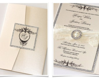 Lace Wedding Invitation, Vintage Wedding Invitation, Elegant Invitation, Glitter Invitation - Ivory Lace Silver Glitter - Harper Sample