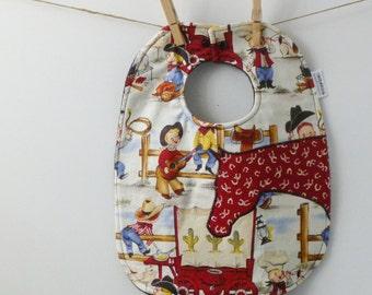 Baby Bib - Cowboy Baby Gift - Oversize Baby Bib with Snaps - Big Snap Bib - Western Baby Shower Gift - Horse Baby Gift - Retro Cowboys Baby