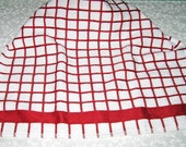 Crochet Kitchen Hanging Towel, White with Red, Red top