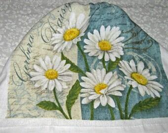 Crochet hanging top towel, daisy design, delft blue top