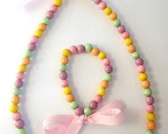 Rainbow bead necklace and bracelet set
