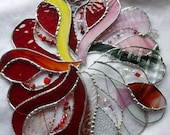 A Touch of Pink Stained Glass  Beaded Heart iridescents,Reds Pink and passion
