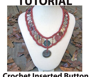 crochet button necklace instructions