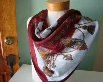 Vintage Scarf large scarf square scarf heavy scarf maroon scarf snow white dark red steampunk cameo rope tassels chains