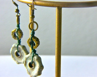 Earthy Geometric Green Earrings, Rustic Casual Earrings, Brass Industrial Earrings, Edgy Modern Earrings, Bohemian Earrings, Gift for Her