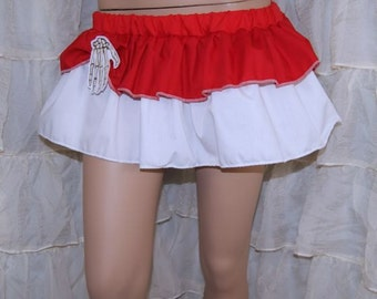 Red and White Layered Ruffle Mini Skirt with Embroidered Skeleton Hand Pin Adult Small MTCoffinz --- ready to ship