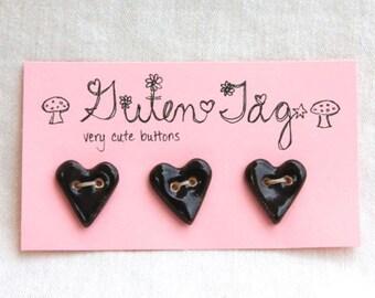 Heart Ceramic Button Porcelain with Black Glaze
