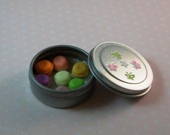 Dollhouse Miniature - Tin of Rainbow Color Macaroons