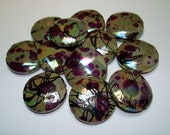 Purple Faceted AB Grey Drawbench Flat Round Beads (Qty 12) - B1647