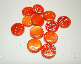 Orange Glittered Flat Round Shell Beads (Qty 12) - B1910