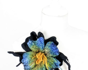 Special Felted flower brooch black pearl saturated colours marvellous green blue